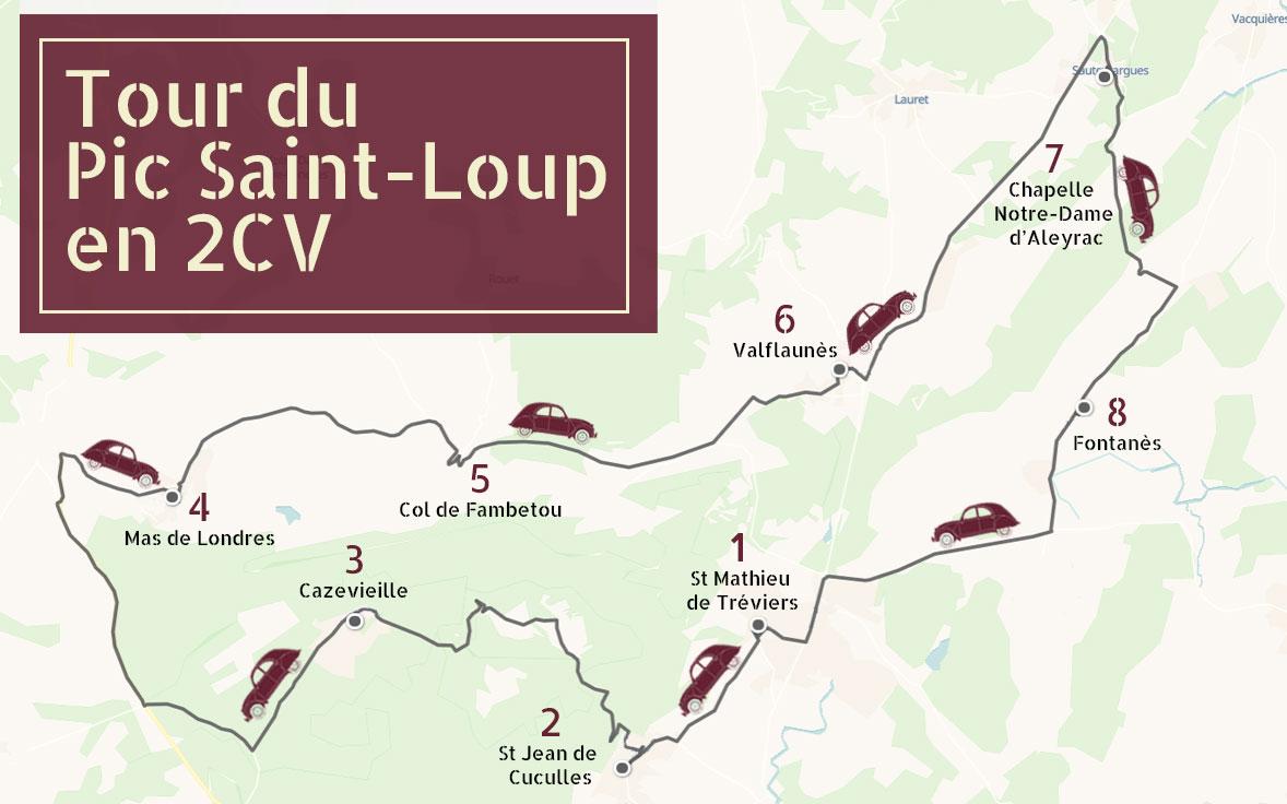 Carte descriptive de la balade autour du Pic Saint Loup organisé par 2cv around the pic
